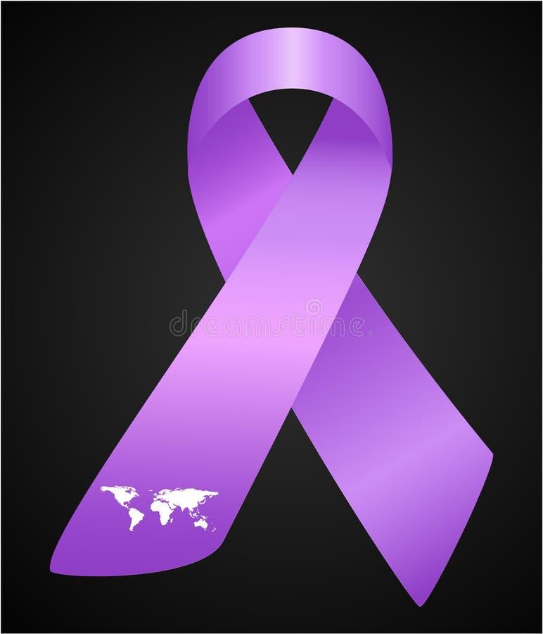 Vector el ejemplo de la cinta elegante para el mundo Lupus Day Cinta realista de la conciencia púrpura con el mapa del worl aisla libre illustration