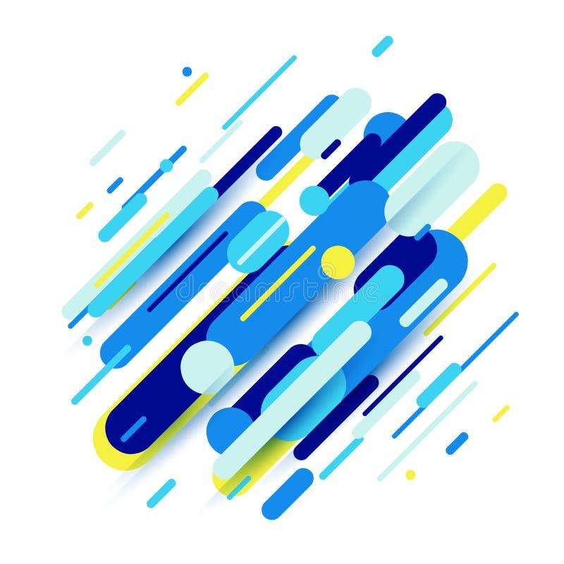 Vector el ejemplo de la composición dinámica hecho de líneas coloreadas de las formas redondeadas stock de ilustración