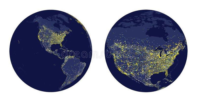 Vector el ejemplo de la esfera de la tierra con las luces de la ciudad y el enfoque de Norteamérica ilustración del vector
