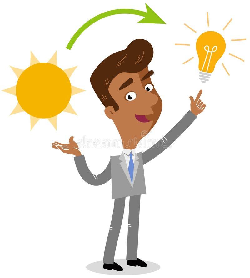 Vector el ejemplo de la explicación asiática de un hombre de negocios de la historieta, del sol y de la bombilla, fuente de energ stock de ilustración