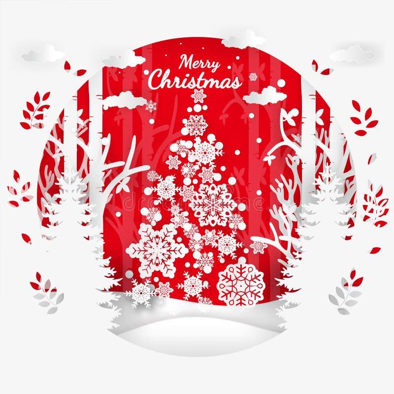 Vector el ejemplo de la Feliz Navidad de la estación del invierno y de la Feliz Año Nuevo Arte y artes de papel del diseño libre illustration