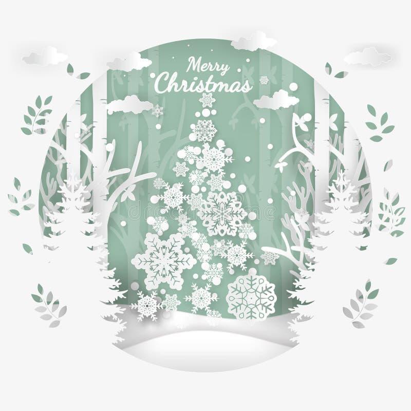 Vector el ejemplo de la Feliz Navidad de la estación del invierno y de la Feliz Año Nuevo Arte y artes de papel del diseño stock de ilustración