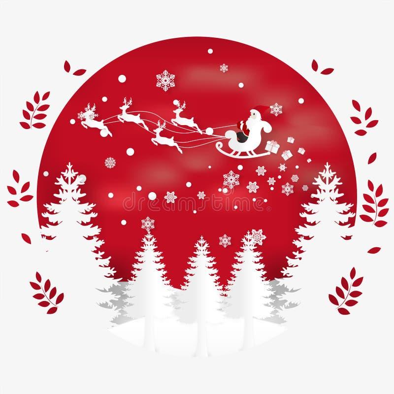 Vector el ejemplo de la Feliz Navidad de la estación del invierno y de la Feliz Año Nuevo Arte y artes de papel del diseño ilustración del vector