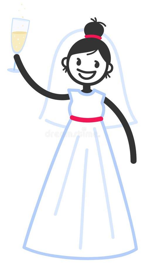 Vector el ejemplo de la figura linda novia feliz del palillo en el vestido de boda que aumenta el vidrio de champán libre illustration