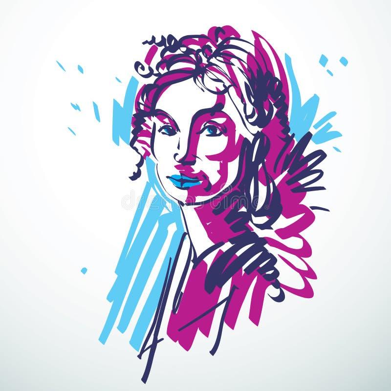 Vector el ejemplo de la hembra elegante joven, imagen del arte colorido ilustración del vector