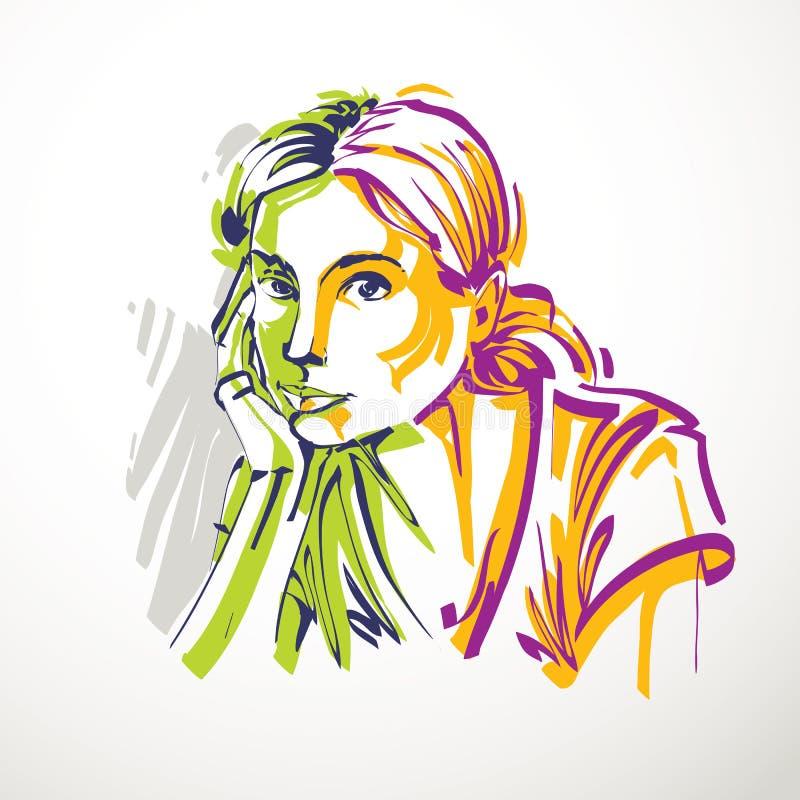 Vector el ejemplo de la hembra elegante joven, imagen del arte colorido stock de ilustración