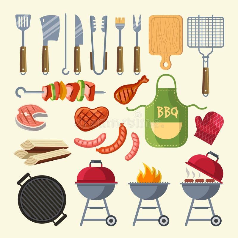Vector el ejemplo de la historieta de la carne, de la salsa, de la parrilla y de otros elementos para el partido del Bbq ilustración del vector