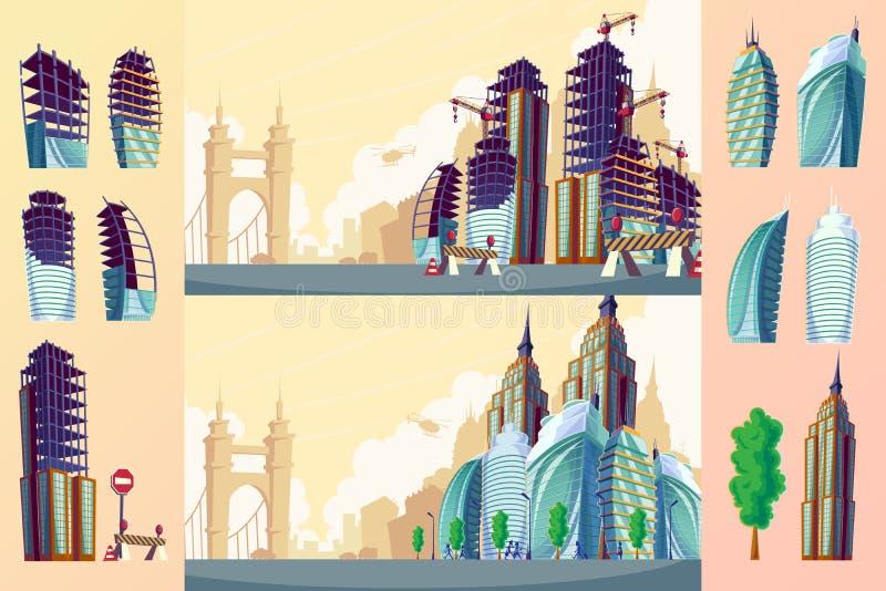 Vector el ejemplo de la historieta de un paisaje urbano con los edificios modernos grandes libre illustration