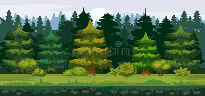 Vector el ejemplo de la historieta del bosque spruce para el juego UI Para la impresión, cree los vídeos o el diseño gráfico del  ilustración del vector