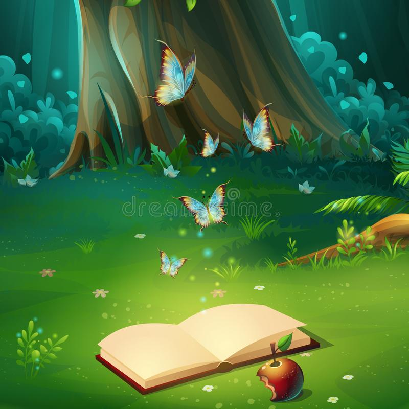 Vector el ejemplo de la historieta del claro del bosque del fondo con el libro ilustración del vector