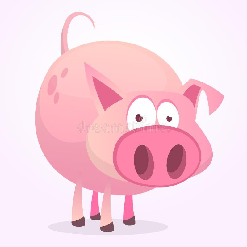 Vector el ejemplo de la historieta linda del cerdo aislada en el fondo blanco Forstickers del diseño, impresión o libro de niños ilustración del vector