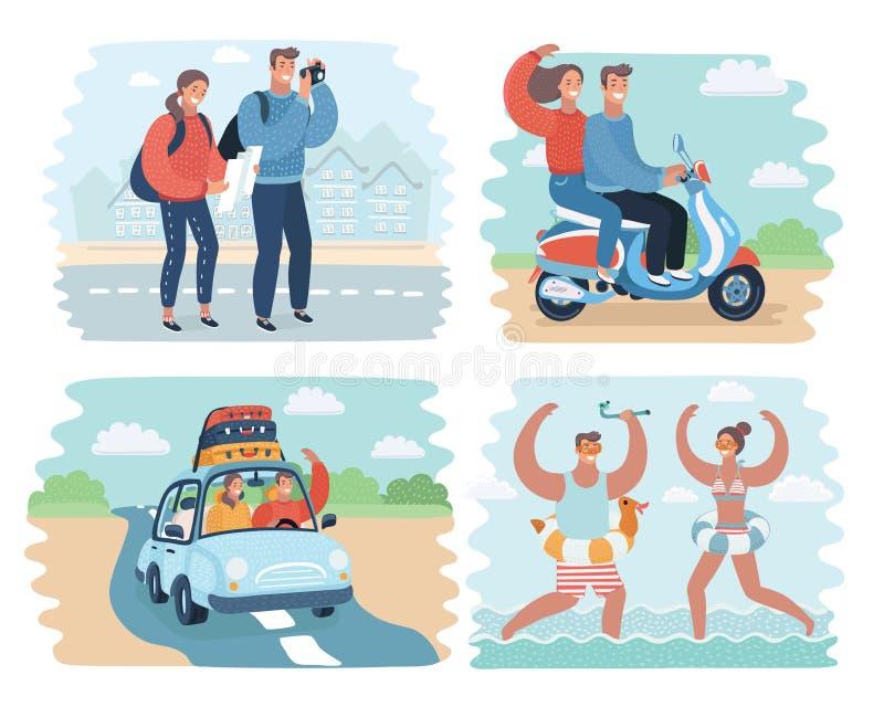 Vector el ejemplo de la historieta de pares en escena de las vacaciones de verano stock de ilustración