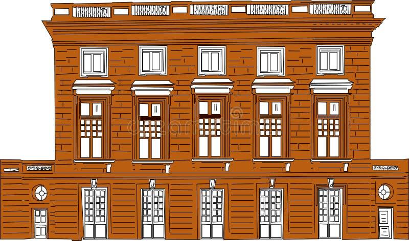 Vector el ejemplo de la historieta de un paisaje urbano con los edificios modernos grandes - Vectorielles de las imágenes stock de ilustración