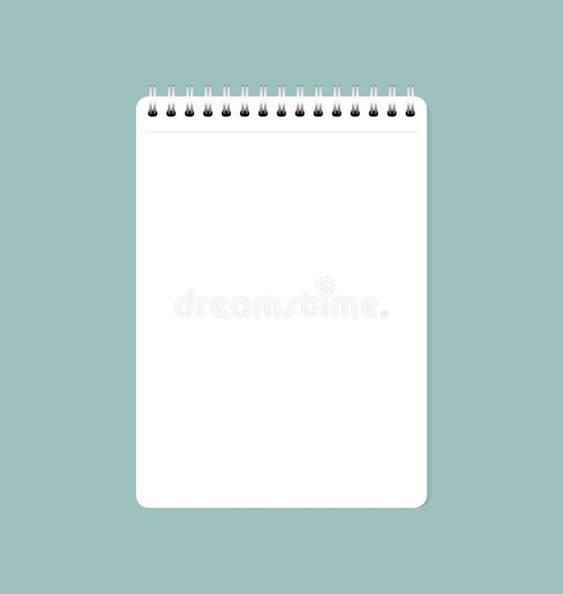 Vector el ejemplo de la hoja de papel limpia blanca del cuaderno, listo para su mensaje ilustración del vector