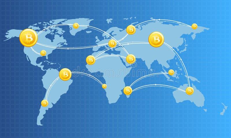 Vector el ejemplo de la imagen financiera del concepto de la tecnología con el bitcoin en el fondo del mapa del mundo en colores  ilustración del vector