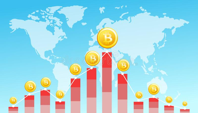 Vector el ejemplo de la imagen financiera del concepto de la tecnología con el bitcoin en el fondo del mapa del mundo Monedas de  stock de ilustración