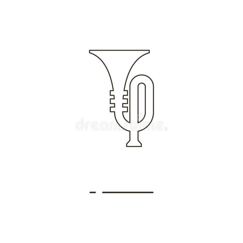 Vector el ejemplo de la línea fina icono de la trompeta en el fondo blanco imagenes de archivo