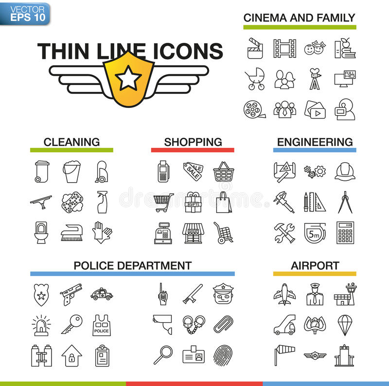 Vector el ejemplo de la línea fina iconos para el cine, familia, limpieza, compras, ingeniería, Departamento de Policía, aeropuer ilustración del vector