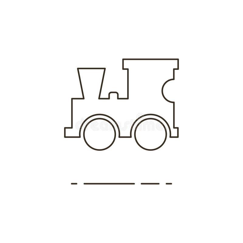 Vector el ejemplo de la línea icono locomotor del juguete en el fondo blanco stock de ilustración