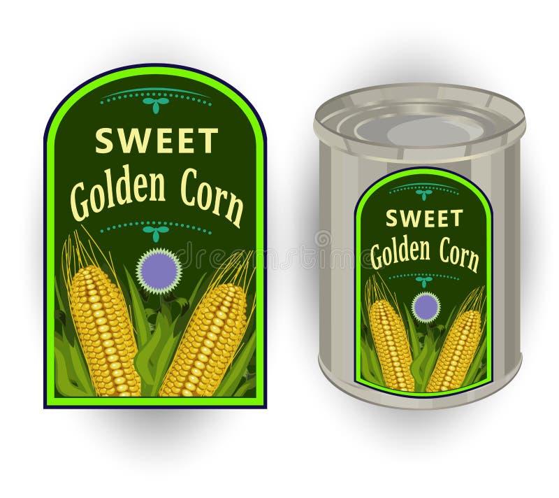 Vector el ejemplo de la lata con una etiqueta para el maíz dulce conservado con la imagen de tres mazorcas de maíz realistas y de stock de ilustración