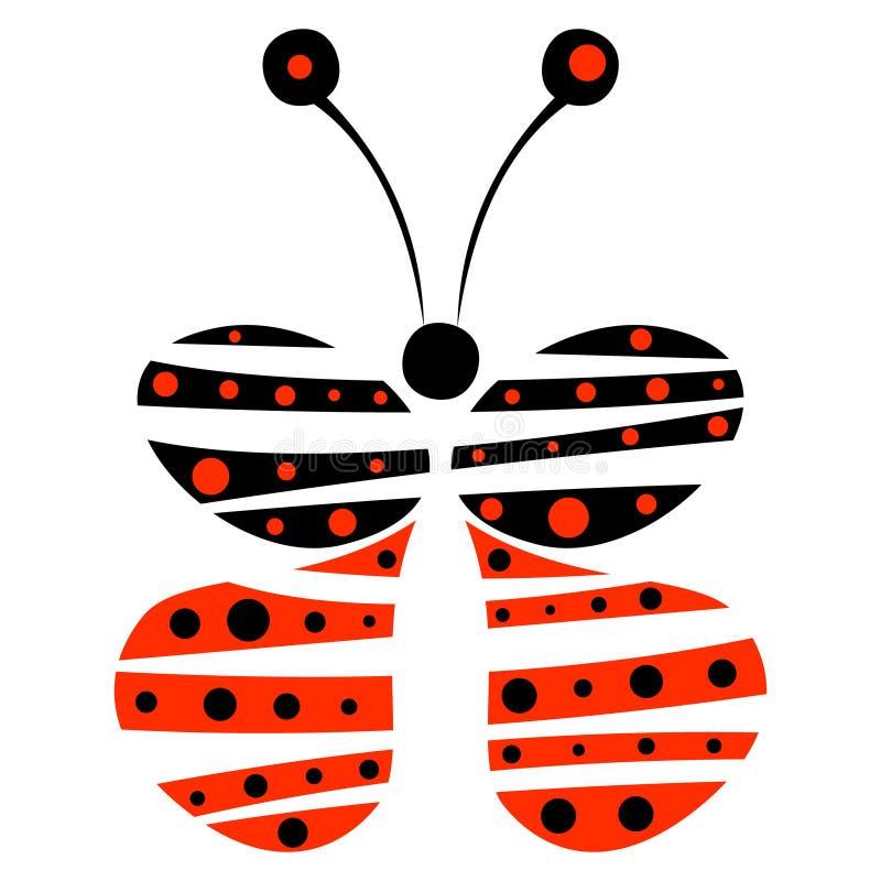 Vector el ejemplo de la mariposa azul y roja decorativa en el fondo blanco libre illustration