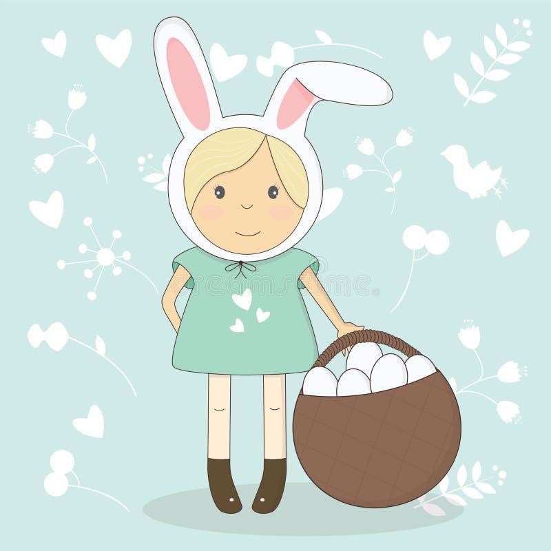 Vector el ejemplo de la muchacha de Pascua con los oídos del conejito ilustración del vector