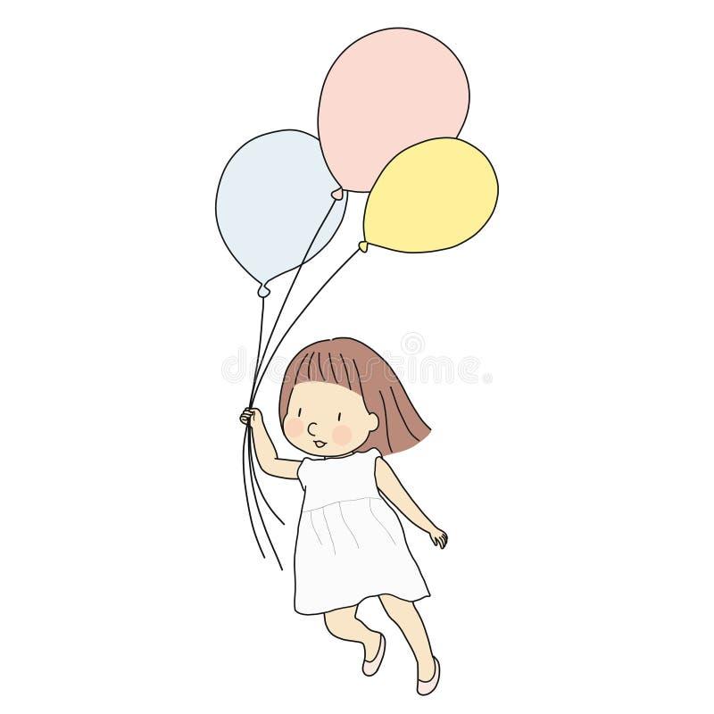 Vector el ejemplo de la muchacha del niño que celebra los globos coloridos y que vuela con felicidad tarjeta de felicitación feli stock de ilustración