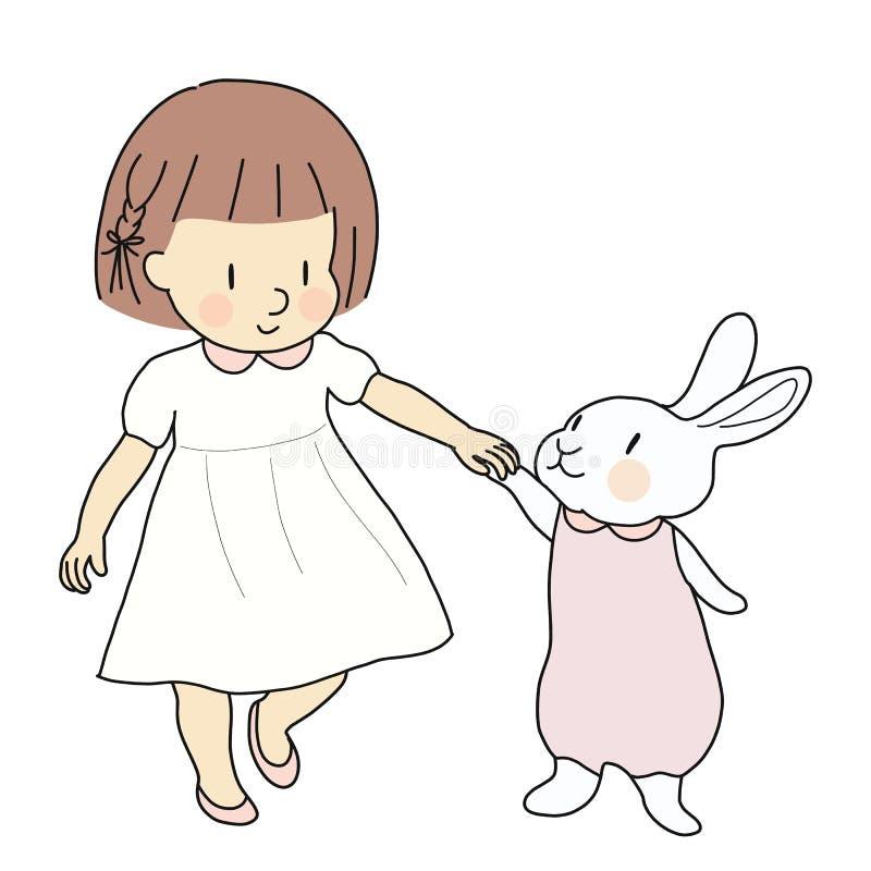 Vector el ejemplo de la muchacha y del conejo del niño que llevan a cabo las manos y que caminan junto Pascua feliz y niños día,  libre illustration