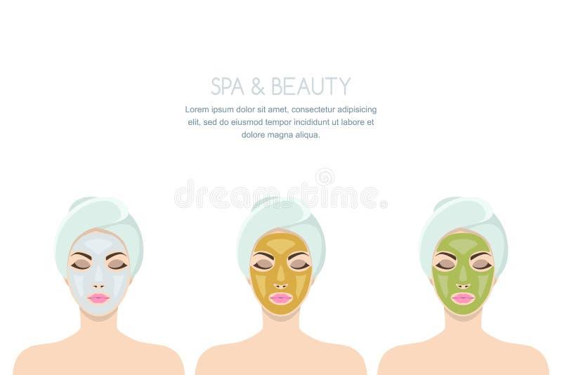 Vector el ejemplo de la mujer con la máscara cosmética facial ilustración del vector