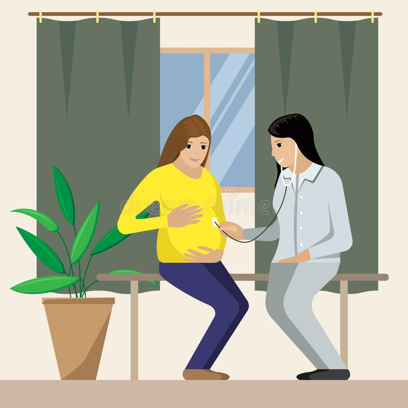 Vector el ejemplo de la mujer embarazada y del ginecólogo stock de ilustración