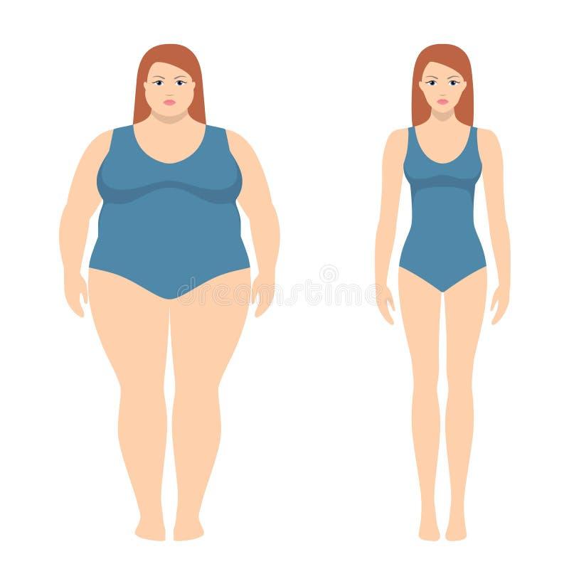 Vector el ejemplo de la mujer gorda y delgada en estilo plano libre illustration