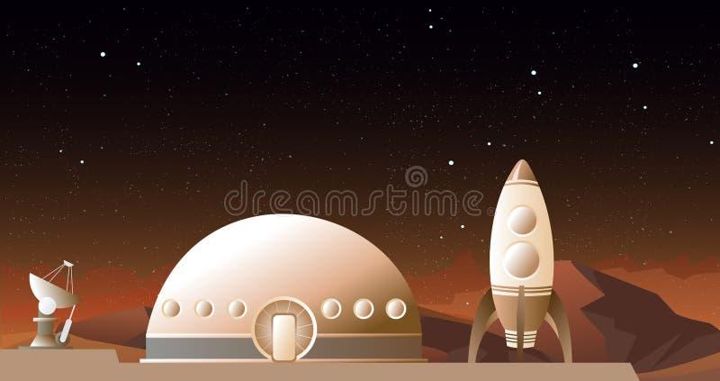 Vector el ejemplo de la nave espacial en Marte u otro planeta Un cohete y una estación espacial en fondo del espacio Viaje espaci libre illustration