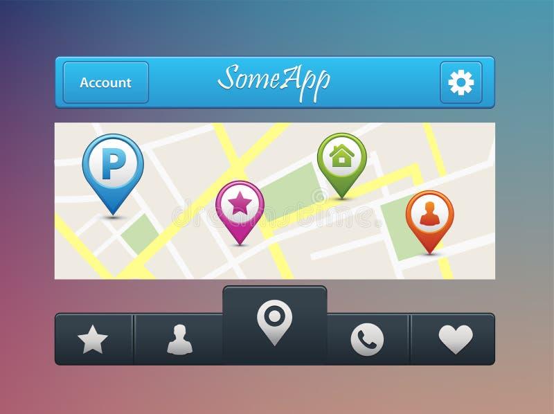 Vector el ejemplo de la navegación móvil app en la pantalla Mapa de ruta con los símbolos que muestran la ubicación ilustración del vector