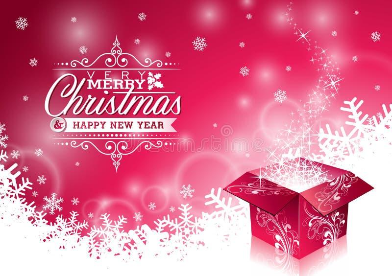 Vector el ejemplo de la Navidad con diseño tipográfico y la caja de regalo mágica brillante en fondo de los copos de nieve ilustración del vector