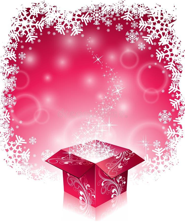 Vector el ejemplo de la Navidad con diseño tipográfico y la caja de regalo mágica brillante en fondo de los copos de nieve stock de ilustración