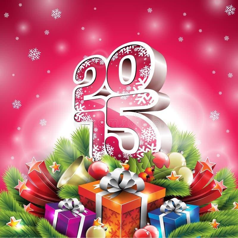 Vector el ejemplo de la Navidad con el diseño tipográfico 3d 2015 y los elementos brillantes del día de fiesta en fondo rojo ilustración del vector