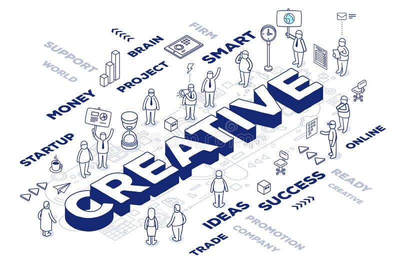 Vector el ejemplo de la palabra tridimensional creativo con el peop libre illustration