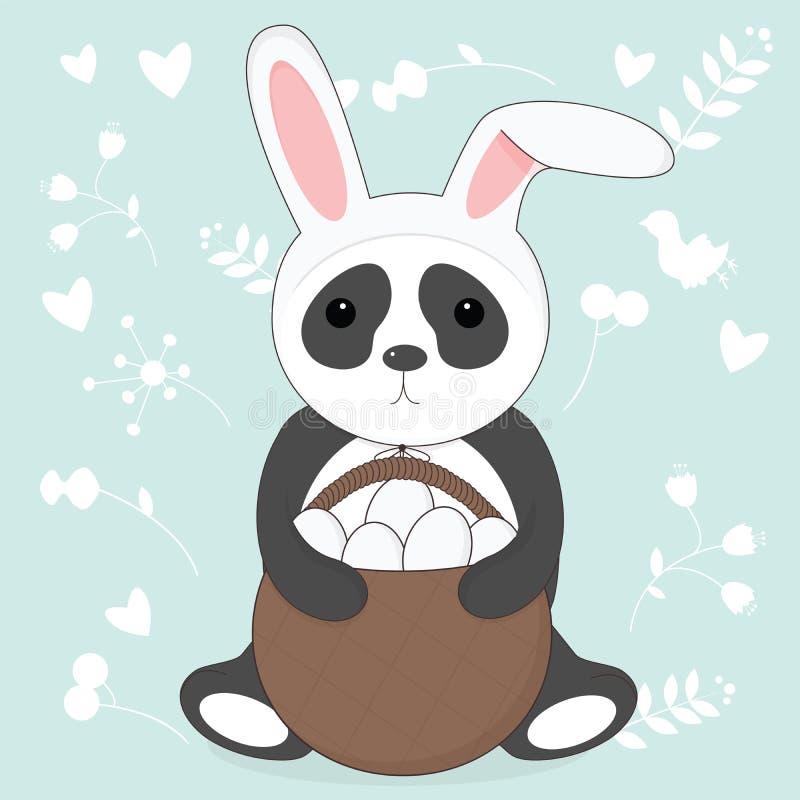 Vector el ejemplo de la panda de Pascua con los oídos del conejito ilustración del vector