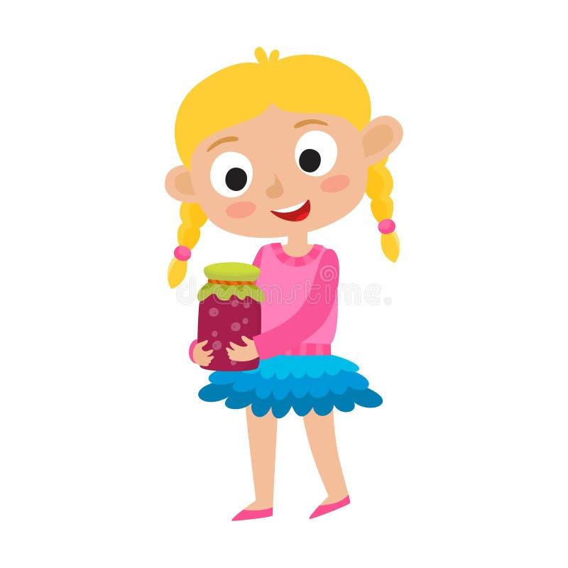Vector el ejemplo de la pequeña muchacha rubia adorable y las bayas atascan stock de ilustración