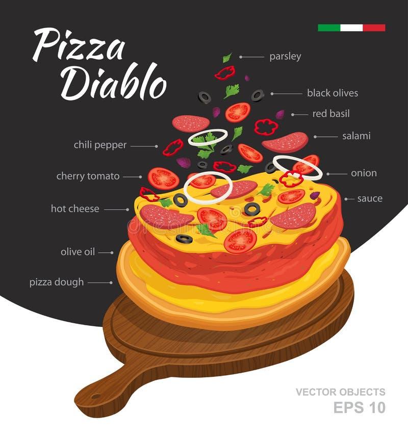 Vector el ejemplo de la pizza caliente sabrosa Diablo en el tablero de madera Ingredientes que caen Receta italiana tradicional I libre illustration