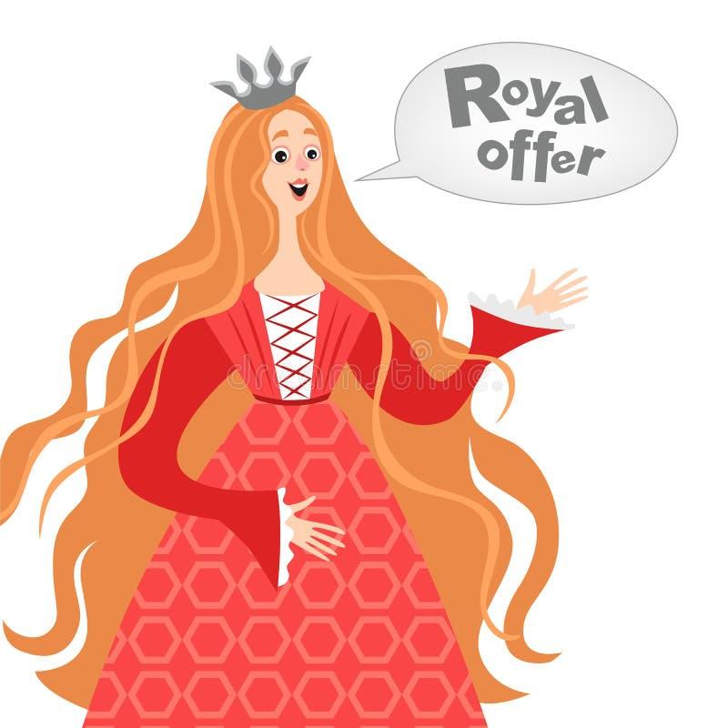 Vector el ejemplo de la princesa feliz de la historieta con una burbuja del discurso Icono real de la oferta stock de ilustración