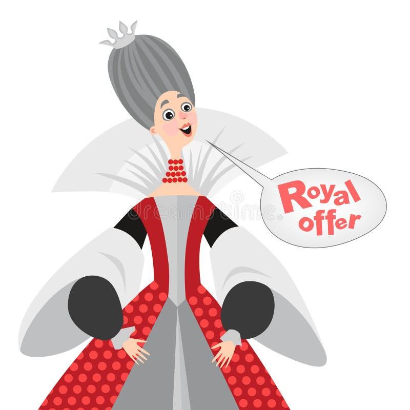 Vector el ejemplo de la reina feliz de la historieta con una burbuja del discurso Icono real de la oferta ilustración del vector