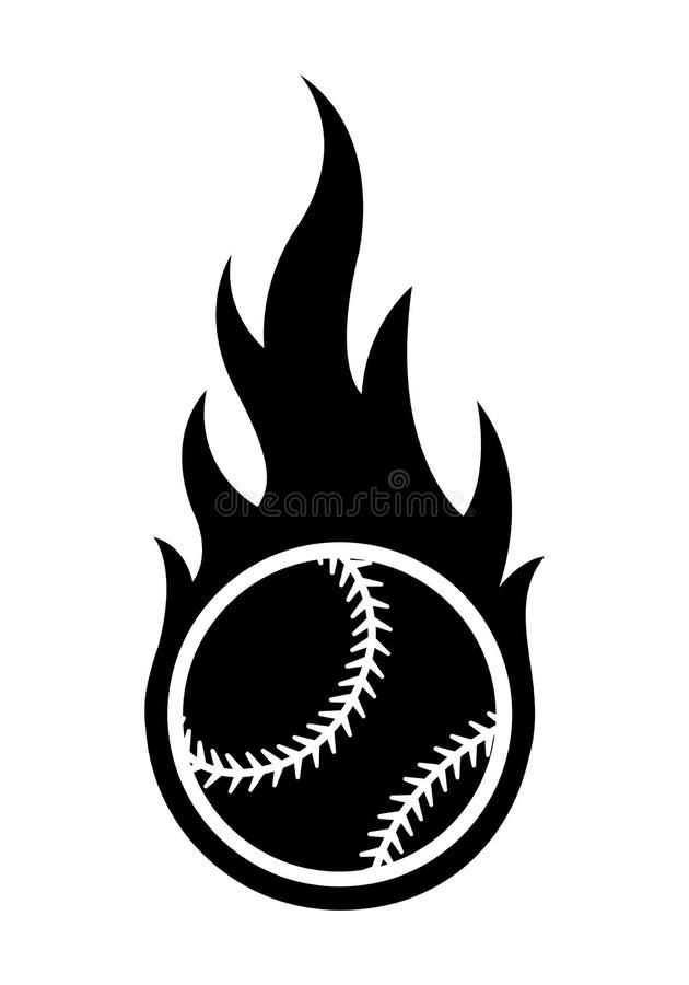 Vector el ejemplo de la silueta de la bola del béisbol con el flam simple stock de ilustración