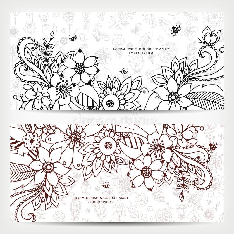 Vector el ejemplo de la tarjeta con las banderas florales Zen Tangle, garabateando stock de ilustración