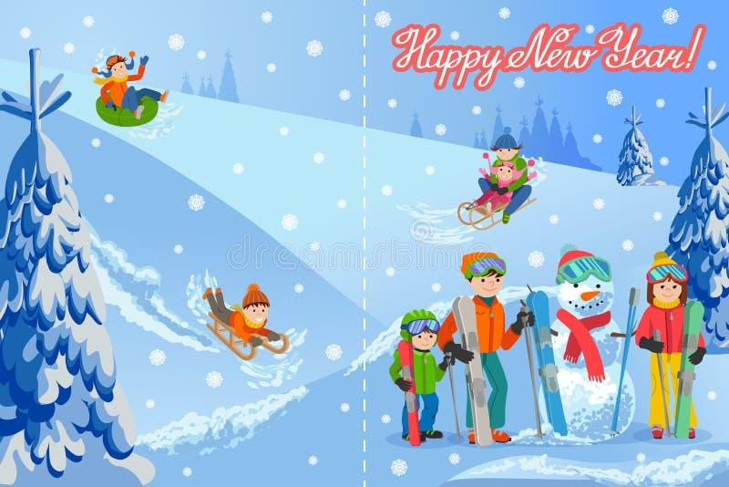 Vector el ejemplo de la tarjeta de la enhorabuena del Año Nuevo con la familia feliz del paisaje del invierno que juega el muñeco stock de ilustración
