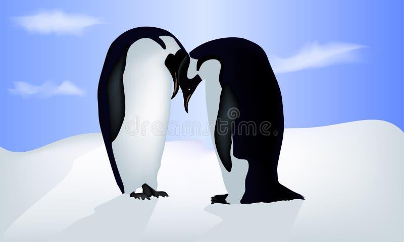 Vector el ejemplo de la tarjeta de la tarjeta del día de San Valentín con dos pingüinos ilustración del vector
