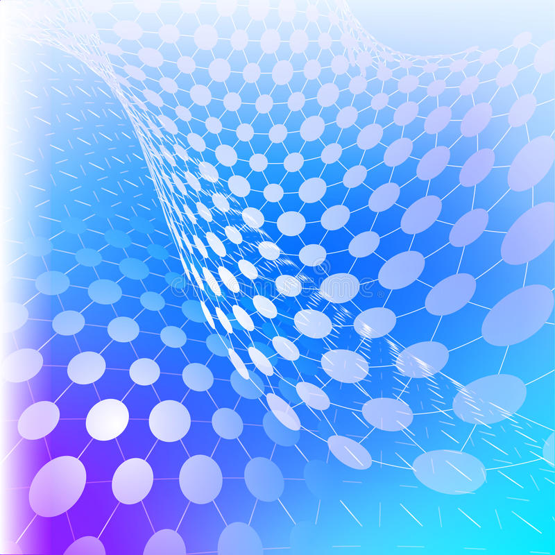 Vector el ejemplo de la tecnología cibernética - rejillas de la perspectiva con los círculos en fondo azul stock de ilustración