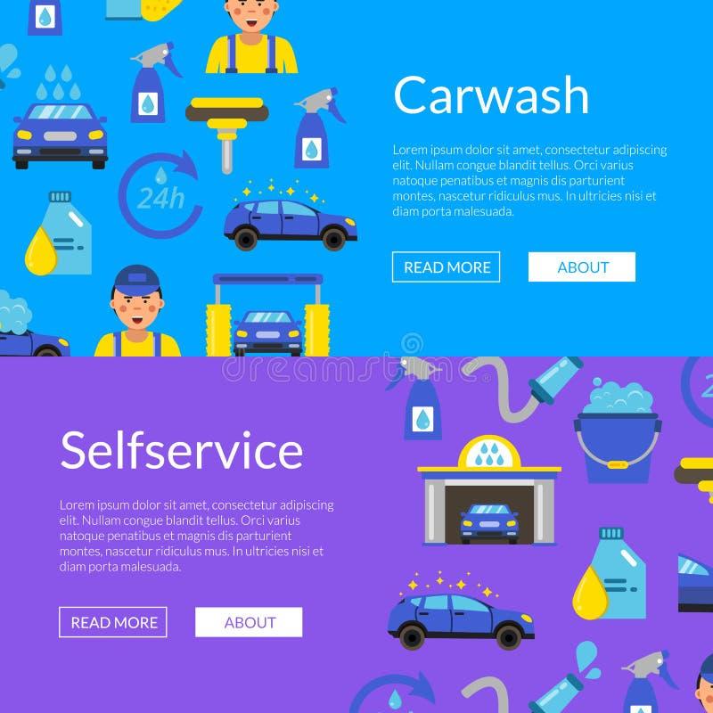 Vector el ejemplo de las banderas del web con los iconos planos del túnel de lavado libre illustration