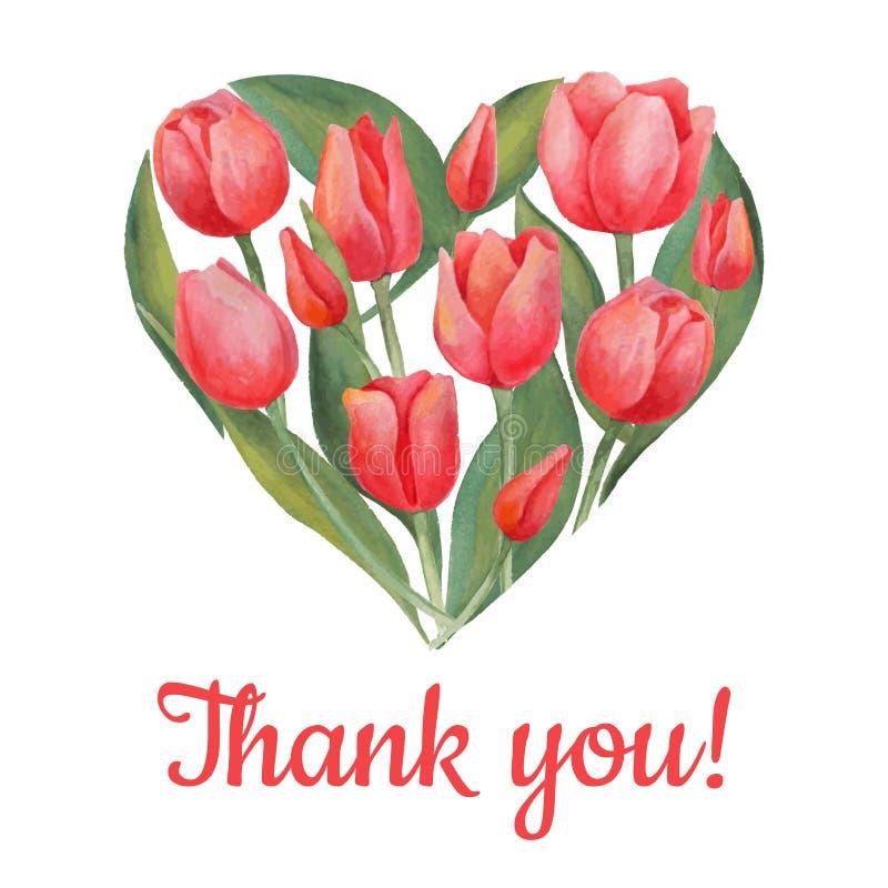 Vector el ejemplo de las flores de los tulipanes en forma del corazón stock de ilustración