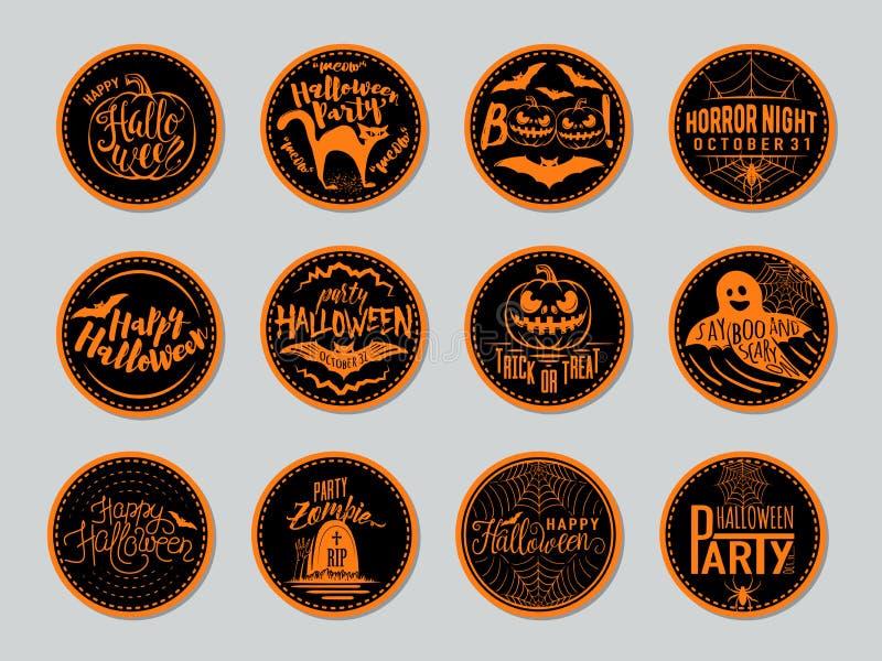 Vector el ejemplo de las insignias de Halloween y diseñe los elementos con símbolos ilustración del vector
